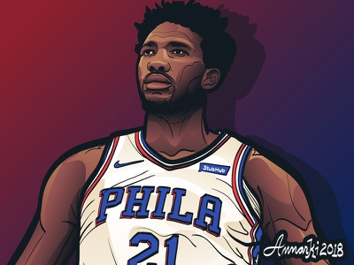 Joel Embiid philadelphia sixers sports basketball illustration nba joel embiid