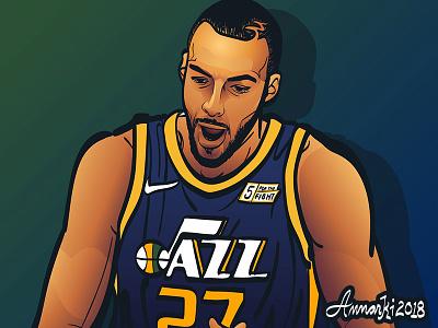 Rudy Gobert sports basketball illustration nba utah jazz rudy gobert