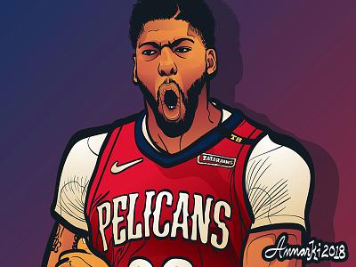 Anthony Davis illustration sports nba basketball the brow new orleans pelicans anthony davis