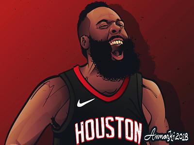 The Beard nba sports basketball illustration houston rockets james harden