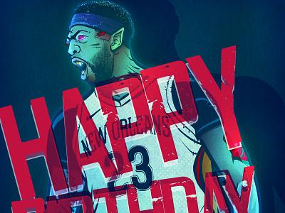 Happy birthday, Anthony Davis! adobe illustrator nba art illustration art basketball nba illustration anthony davis
