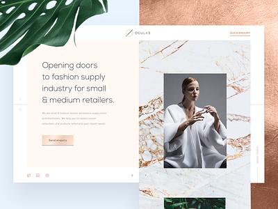 Oculas - the homepage tonik light blue gold rose marble fashion retailer hero homepage website