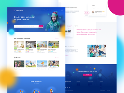 Select Clever - homepage hero kindergarten preschool blue ux ui homepage website