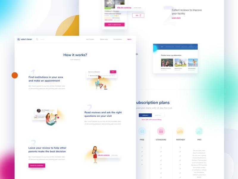 Select Clever - Searcher & Institutions website searcher blue colorful illustration ui preschool kindergarten