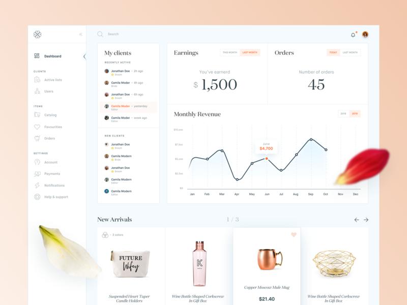 Wedding Planner - Dashboard 💍 bachelorette product minimal clean ux ui dashboard planner wedding