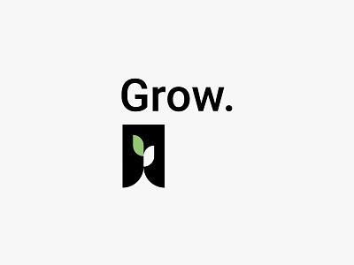 Grow. green plant leaf nature minimal clean modern icon simple logo