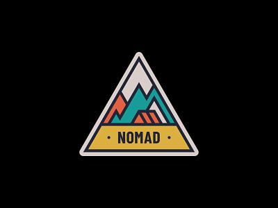 Nomad adv nomad mountain camp sticker emblem adventure outdoor badge nature simple illustration