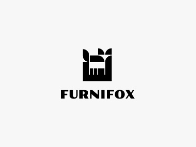 Furnifox negative space furniture fox animal minimal modern simple logo