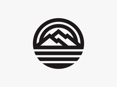 The Grand Mountain thick line adventure sun mountain outdoor badge nature modern simple logo