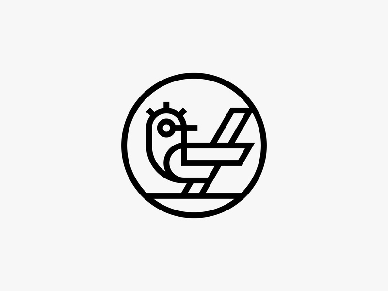 Co Factory lineart clockwork cafe factory bird nature animal modern icon simple logo