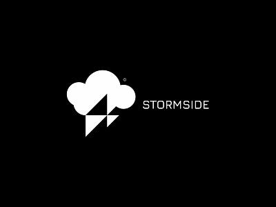Stormside 3 lightning storm cloud nature minimal clean modern icon simple logo