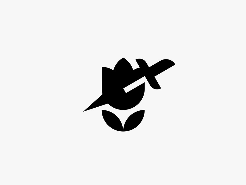 Tragic Fashion Records flower knife nature minimal clean modern icon simple logo
