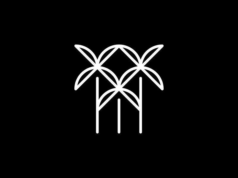 Palms lineart palm tree minimal clean modern icon simple logo