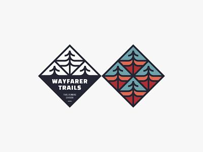 Wayfarer Trails tree mountain trail outdoor emblem badge adventure nature simple logo