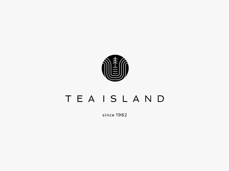 Tea Island tree island tea lineart nature minimal clean modern icon simple logo