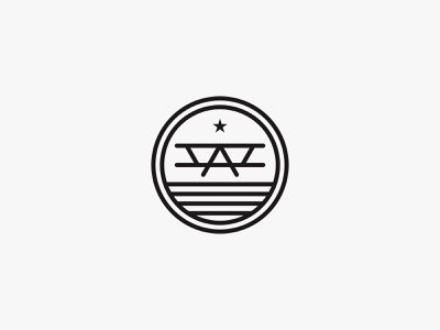 Ace pilot x1 star lineart letterform plane minimal clean modern icon simple logo