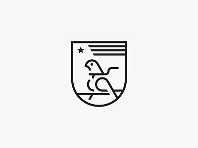 Ace pilot x2 bird shield lineart star clean modern icon simple logo