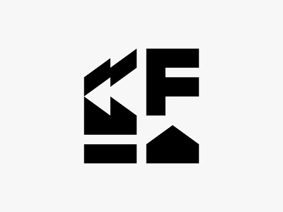 Sector F letter building warehouse factory modern icon simple logo