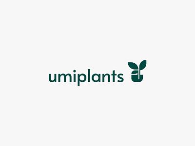 umiplants 2 pot plants leaf nature minimal clean modern icon simple logo