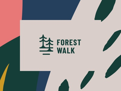 Forest Walk walk abstract leaf wild forest tree nature modern icon simple logo