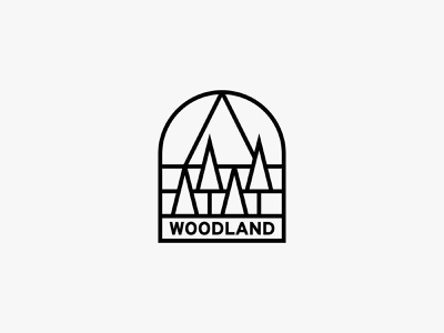 Woodland mountain tree nature minimal clean modern simple logo
