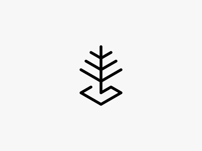 Green space 2 green tree lineart nature minimal clean modern icon simple logo