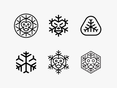 Brass Monkey abstract freeze ice snowflake monkey lineart animal modern logo