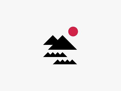 Ikki sun sea mountain japanese nature minimal clean modern icon simple logo