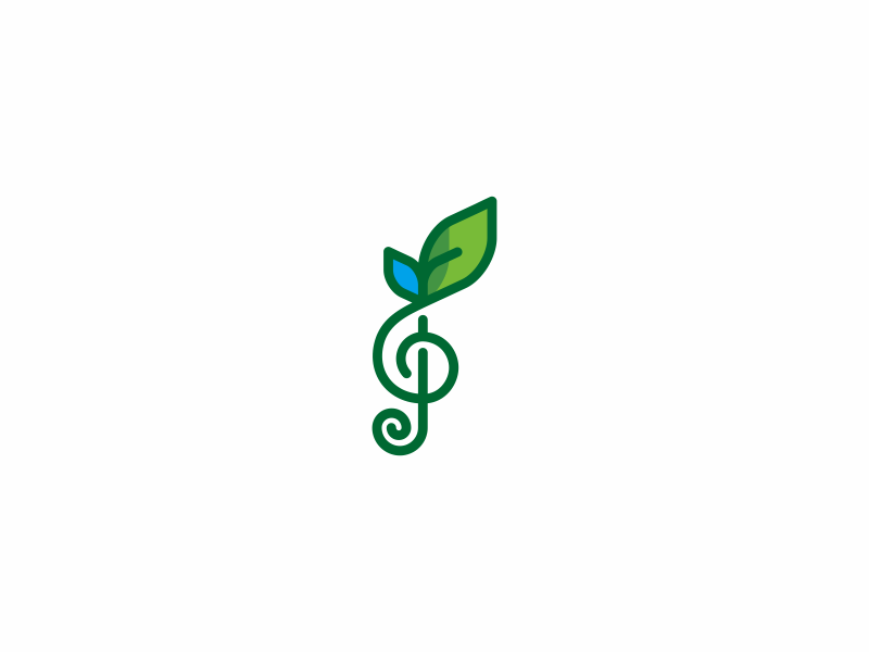 green harmony nature water harmony music green leaf line simple icon mark logo