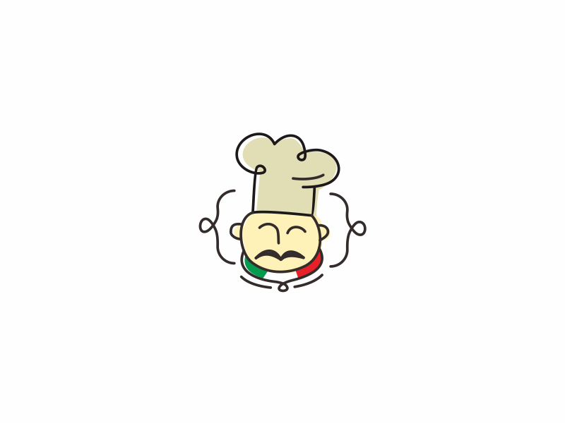 Italian Chef character eat food pizza spaghetti restaurant chef fun colorful logo