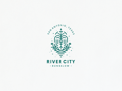 River City / Fountain texas line-art line stars boat bungalow river fountain badge logo