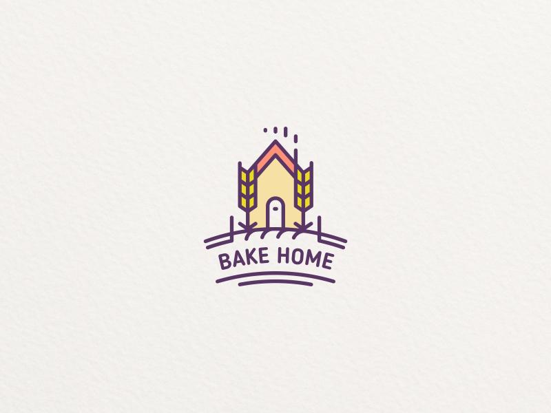 Bake Home cook bake house grain food bakery home leaf design logo