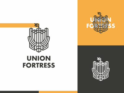 Union Fortress lineart line sword building flag fortress castle icon logo