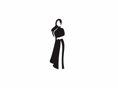 Girl in Ao Dai 2 elegant hair vietnam lady woman clean simple icon logo