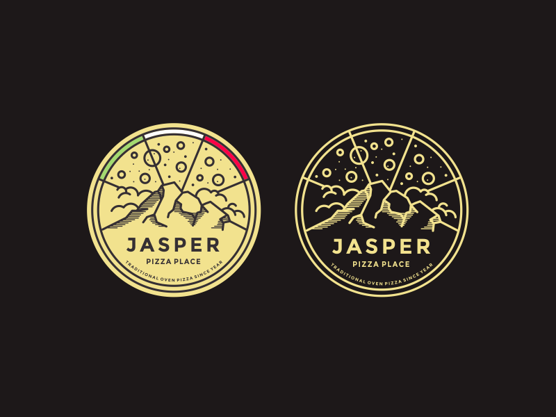 Jasper Pizza nature cloud mount italy pizza line lineart mountain logo