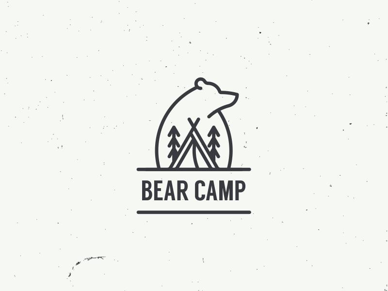 bear camp outdoor nature tree animal bear camp simple icon logo