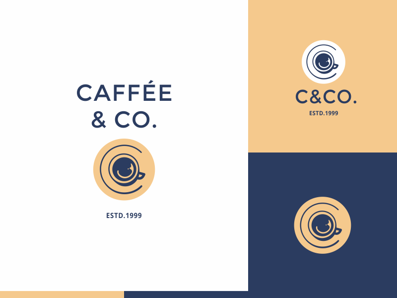 C&Co concept cup cafe coffee modern clean simple icon logo