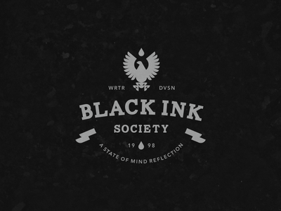 Black Ink Logo ribbon waterdrop society ink eagle bird animal icon logo