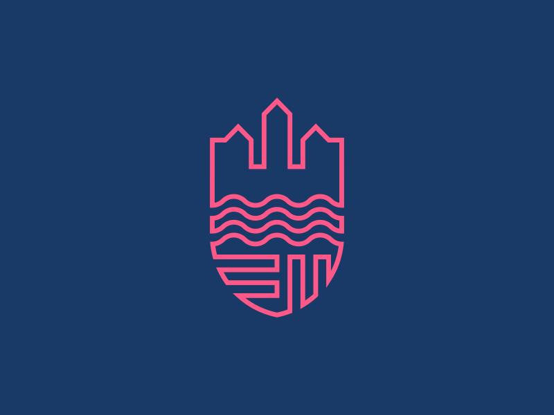 Copenhagen Tours lineart copenhagen castle river shield badge city clean simple icon logo