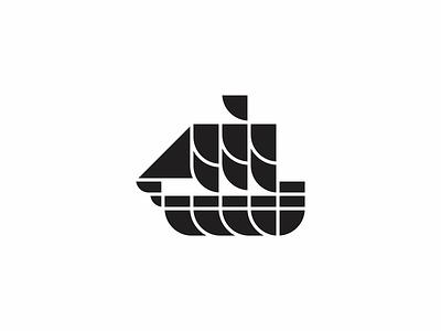Sailboat ocean sea ship sail boat modern minimal simple icon logo