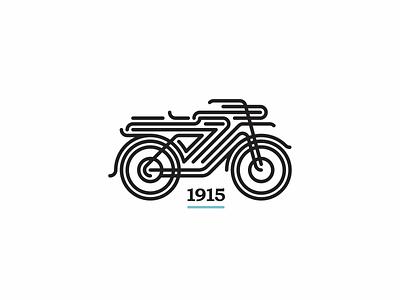 Old Motor old vehicle monoline classic illustration motor logo