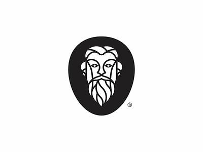 Bearded gentleman head face oldman barber beard logo
