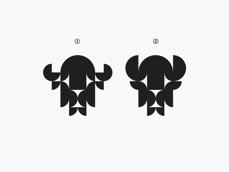 Bison 1&2 modern geometric bison animal icon simple logo