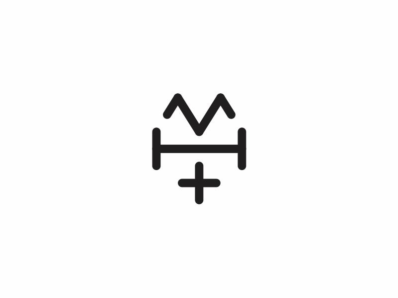 Maven heatlh minimal gym healthcare clean icon simple logo