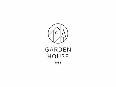 Garden house 3 garden tree house minimal clean modern icon simple logo