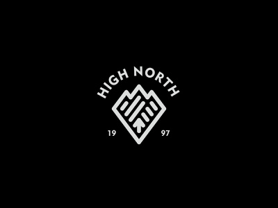 High North 2 badge mountain adventure outdoor nature simple logo