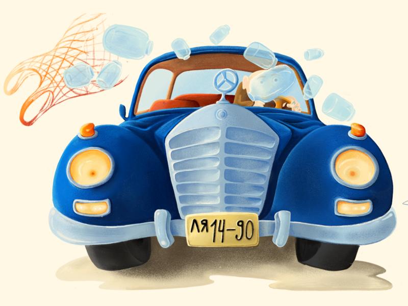Old car old drawings car illustration