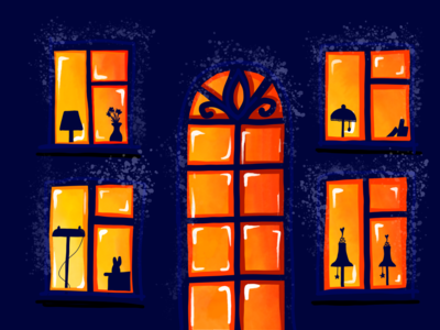 Fast sketch drawing windows dark evening night building house illustration