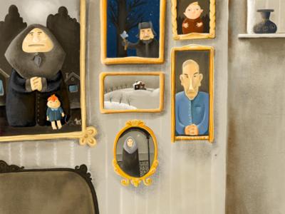 Family photos depressed digital oldroom room portrait drawing illustration
