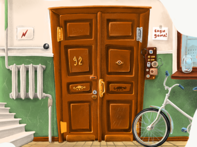 The Door communal apartment st. petersburg bycicle entrance illustration door